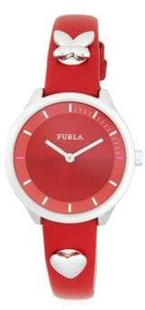 Furla Pin Stainless Steel & Leather-Strap Watch