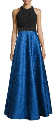 Carmen Marc Valvo Sleeveless Ponte & Taffeta Combo Gown, Black/Royal $1,295 thestylecure.com