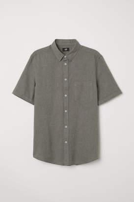 H&M Slim Fit Linen-blend Shirt - Green
