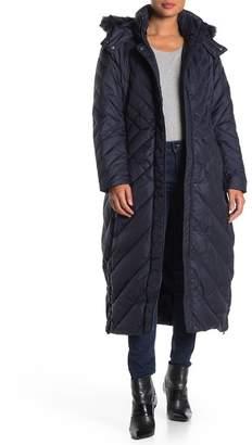 Larry Levine Multi Directional Chevron Maxi Puffer Jacket