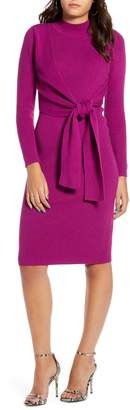 ALL IN FAVOR Tie Front Long Sleeve Midi Sweater Dress