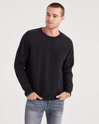 7 For All Mankind Stripe Sleeve Sweatshirt with Faux Leather in Black