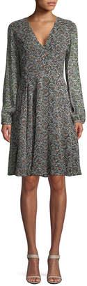 Derek Lam 10 Crosby Derek Lam Silk Printed Flared Dress