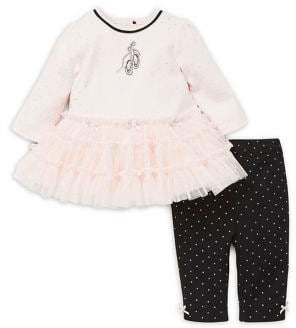 Little Me Baby Girl's Two-Piece Ballet Cotton Dress and Leggings Set