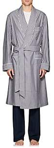 Barneys New York Men's Striped End-On-End Cotton Robe - Gray