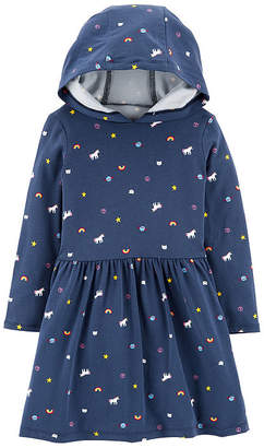 Carter's Unicorn Print Dress - Toddler Girls Long Sleeve Fitted Sleeve A-Line Dress - Toddler Girls