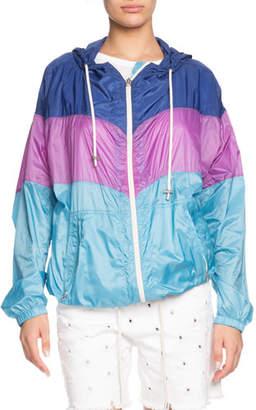 Etoile Isabel Marant Kyriel Hooded Colorblock Zip-Front Jacket