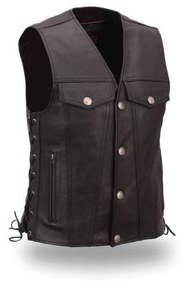 Buffalo David Bitton First Manufacturing First Manufacturing Mens The Rushmore Leather Snap Front Motorcycle Vest Nickel Snaps XL