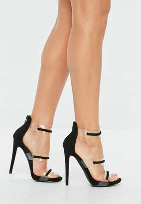 Missguided Black Floating Three Strap Heeled Sandals