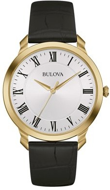 Bulova Men's Gold Finish Watch with Leather Strap 97A123