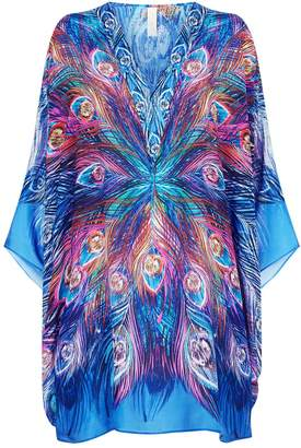 Gottex Peacock Print Silk Dress
