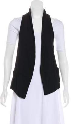 Vince Rib Knit-Paneled Leather Jacket