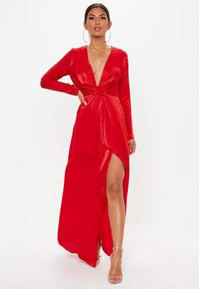 Missguided Tall Red Wrap Front Maxi Dress