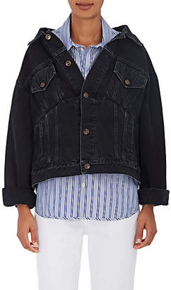 Balenciaga Women's Off-The-Shoulder Denim Jacket - Black