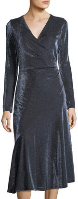 London Times Side-Ruche Metallic Bias-Cut Dress