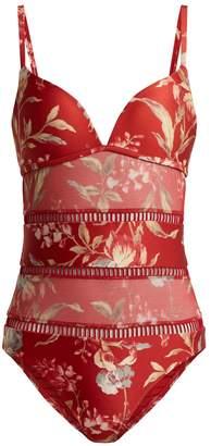 Zimmermann Corsair floral-print contrast-panel swimsuit