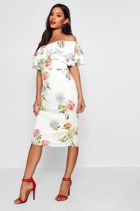 boohoo Bethany Ruffle Off the Shoulder Midi Dress