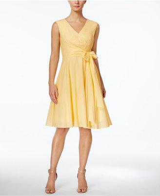 Calvin Klein Faux-Wrap Fit & Flare Dress $124 thestylecure.com