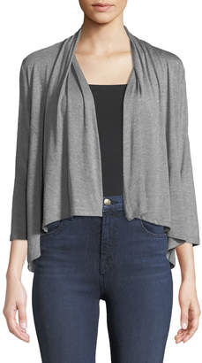 Neiman Marcus 3/4-Sleeve Shawl-Collar Cozy Cardigan