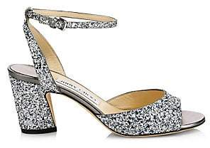 Jimmy Choo Women's Miranda Glitter Peep Toe Sandals