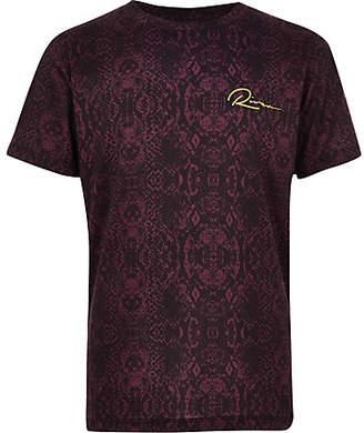 River Island Boys burgundy snake print T-shirt