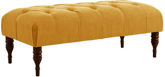 One Kings Lane Stanton Tufted Bench - French Yellow Linen