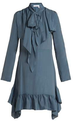 See by Chloe Ruffled Crepe De Chine Mini Dress - Womens - Blue