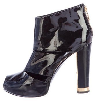 Tory Burch Tory Burch Patent Leather Peep-Toe Ankle Boots