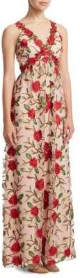 Alice + Olivia Beck Rose Embroidered Gown