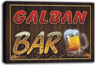 AdvPro Canvas scw3-022640 GALBAN Name Home Bar Pub Beer Mugs Stretched Canvas Print Sign