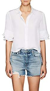 Frame Women's Ruffle Silk Blouse - White