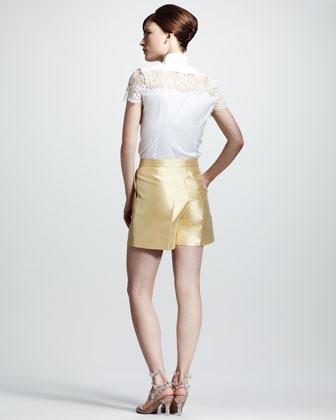 Valentino Lace-Shoulder Poplin Blouse