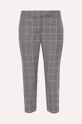 Thom Browne Checked Cropped Wool-twill Slim-leg Pants - Gray