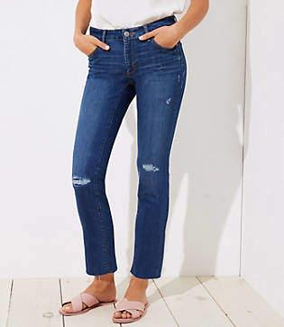 LOFT Curvy Distressed Straight Leg Jeans in Mid Indigo Wash