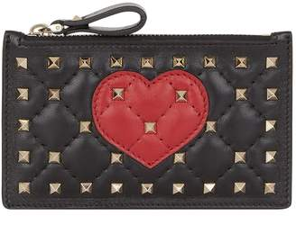Valentino Rockstud Spike and Heart Card Holder and Coin Purse