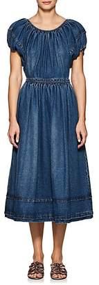 Co WOMEN'S CLASSIC COTTON DENIM PUFF-SLEEVE DRESS - BLUE SIZE S