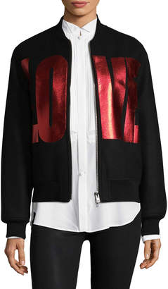 Givenchy Women's Veste De Moto Crop Love Bomber Jacket