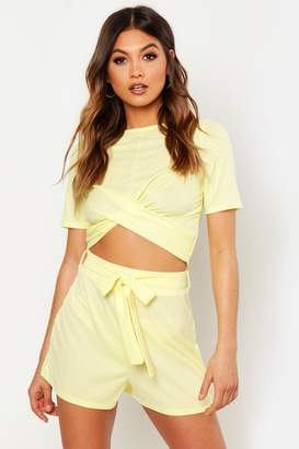 boohoo Twist Front Rib Top & Belted Shorts Co-Ord