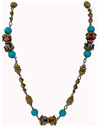 One Kings Lane Vintage 1950s Turquoise Multi-Beaded Necklace - Wisteria Antiques Etca