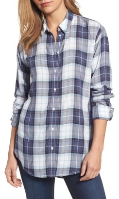 Women's Treasure & Bond Relaxed Open Back Plaid Shirt $79 thestylecure.com