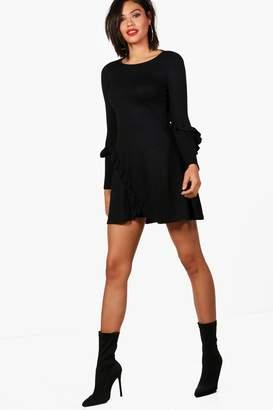 boohoo Micro Ruffle Detail Swing Dress Knitted