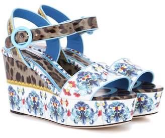 Dolce & Gabbana Printed leather platform sandals