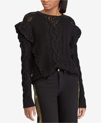 Polo Ralph Lauren Ruffle-Trim Wool Cable-Knit Sweater