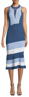 Jonathan Simkhai Rib-Knit Colorblock Lace-Up Midi Dress