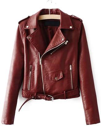 Shein Faux Leather Buckle Belt Hem Moto Jacket