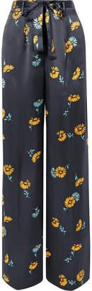Equipment Evonne Belted Floral-print Silk-satin Wide-leg Pants - Navy