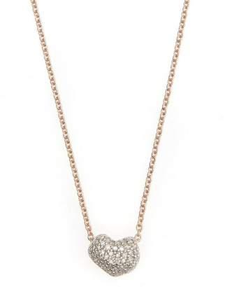 Monica Vinader Rose Gold Vermeil Nura Mini Heart Diamond Necklace