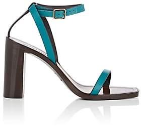Saint Laurent Women's Leather Ankle-Strap Sandals-Green