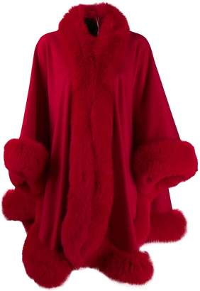 Liska fox fur trim cape
