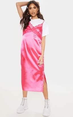 PrettyLittleThing Hot Pink Lace Trim Midi Shift Dress